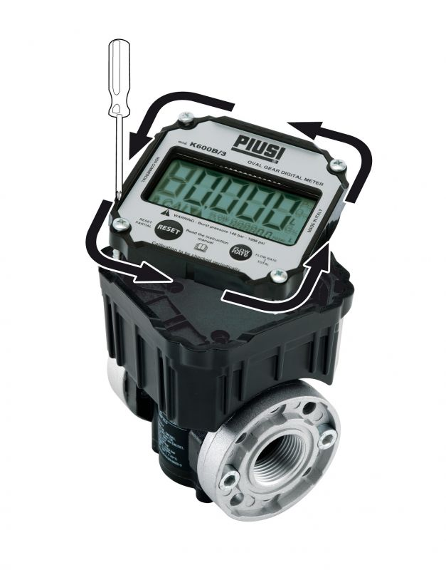 K600/3B Pulser (Digital Display & Pulse Output) 2.64-26.4 GPM, 1 inch NPT