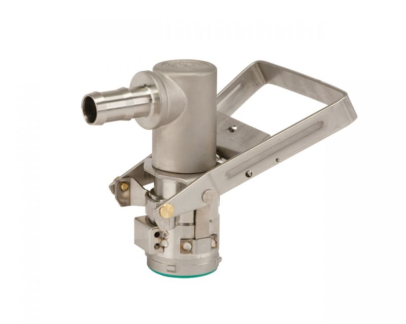 RSV Coupler w/ 90° Hose Barb, Stainless Steel w/ Viton Seal