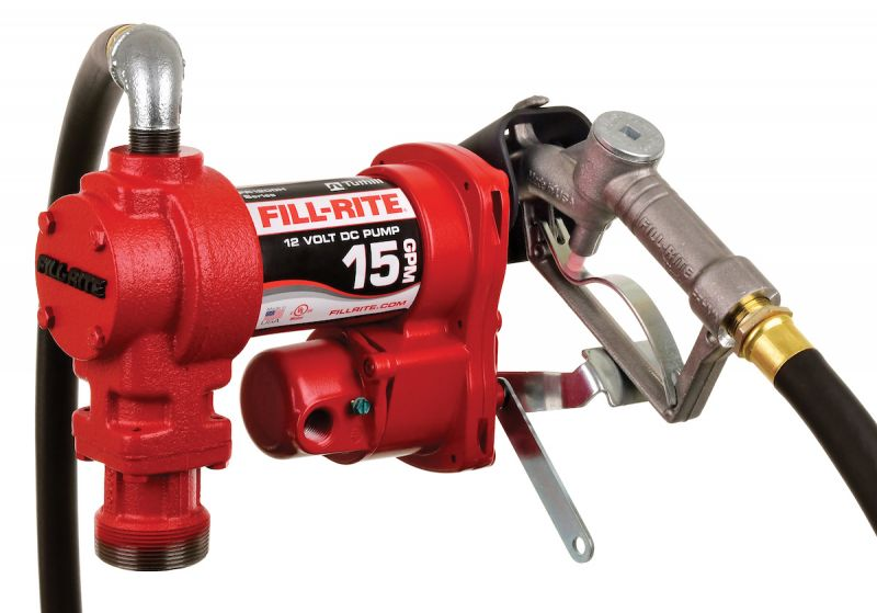 Fill-Rite FR1210H 12V 15 GPM (57 LPM) Fuel Transfer Pump with Discharge Hose, Manual Nozzle, Suction Pipe, RED