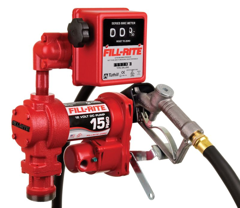 Fill-Rite FR1211H 12V 15 GPM (57 LPM) Fuel Transfer Pump with Discharge Hose, Manual Nozzle, & Mechanical Gallon Meter