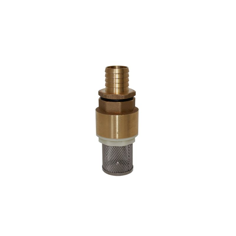 "1"" Brass Foot Filter with Check Valve - 3/4"" Hose Barb Inlet"