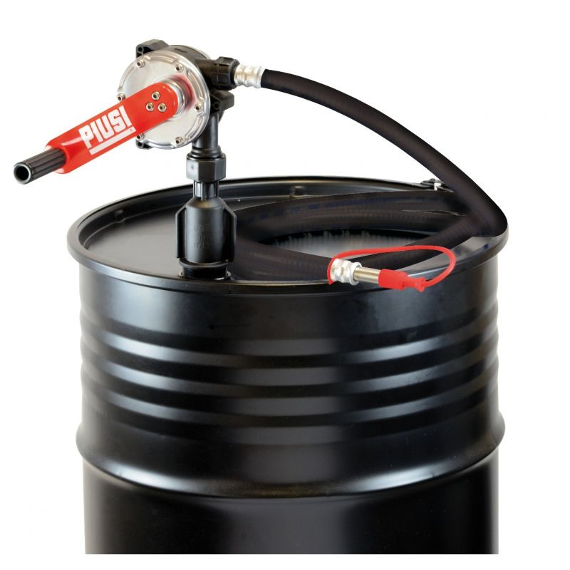 "Fuel & Oil Rotary Hand Pump w/ 9.8 FT Delivery Hose - 2"" NPT (10 GPM) Suction Pipe Included"